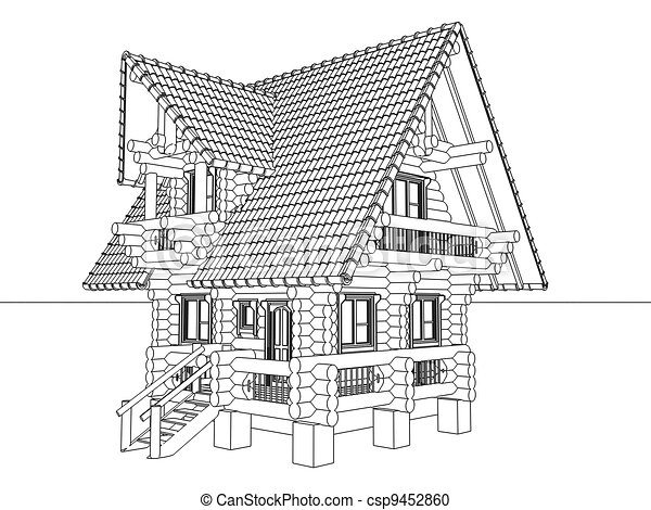 Bois maison dessin illustration instant download - Dessin de maison en bois ...