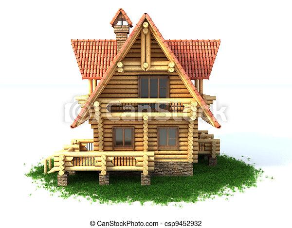 log house 3d illustration  - csp9452932