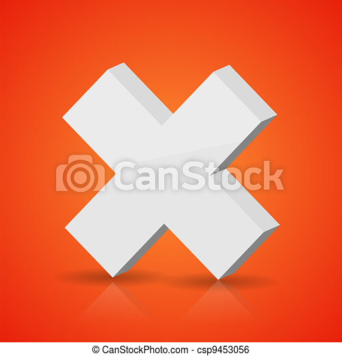 Vector white cross on red background. Eps10 - csp9453056