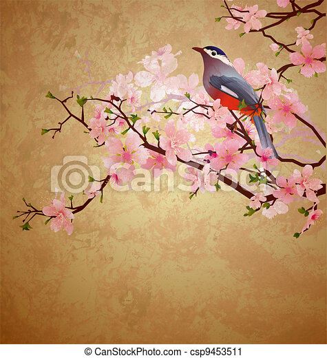 grunge illustration with bird on blossoming tree brunch - csp9453511