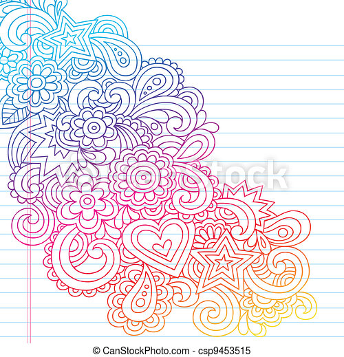 Flowers Outline Vector Doodle - csp9453515