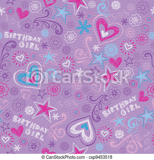 Seamless Birthday Doodles Pattern - csp9453518