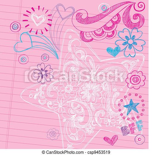 Star Sketchy Back to School Doodles - csp9453519