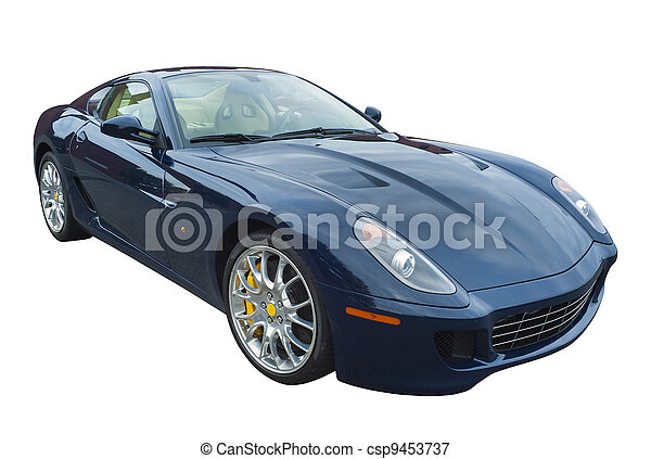 Sportscar in blue, isolated - csp9453737