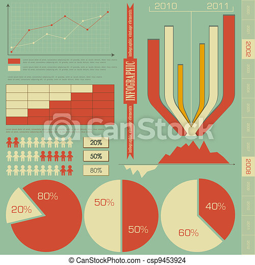 retro elements for infographics - csp9453924