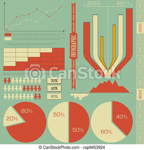 retro elements for infographics - csp9453924