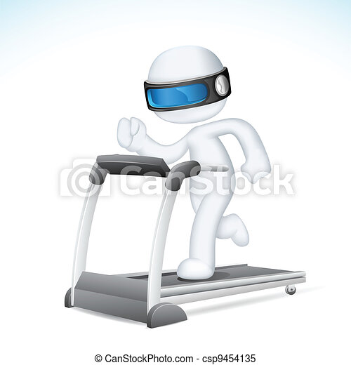3d Man in vector running on Treadmill - csp9454135