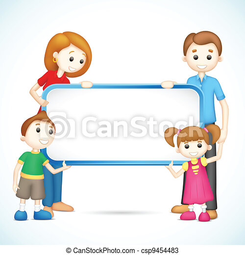 Happy 3d Family in Vector holding Placard - csp9454483