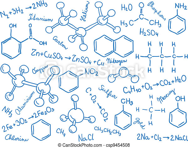 Chemistry background - molecule models and formulas - csp9454508