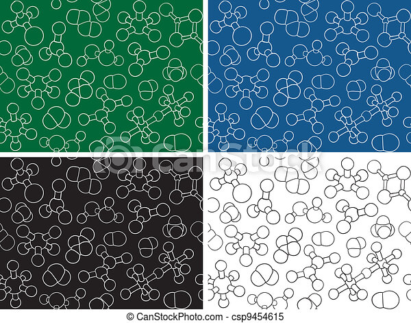 Chemistry background - seamless pattern molecule models - csp9454615