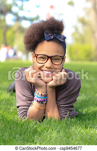 african american black girl child to the park - csp9454677