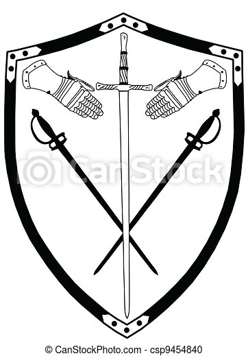 Isolated 16th Century War Shield with Crossed Swords and Gloves - csp9454840