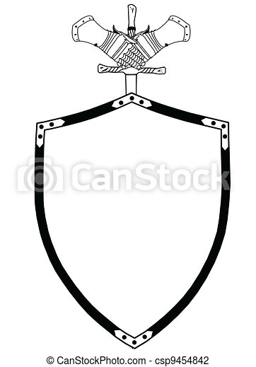 Isolated 16th Century War Shield with Sword and Gloves - csp9454842