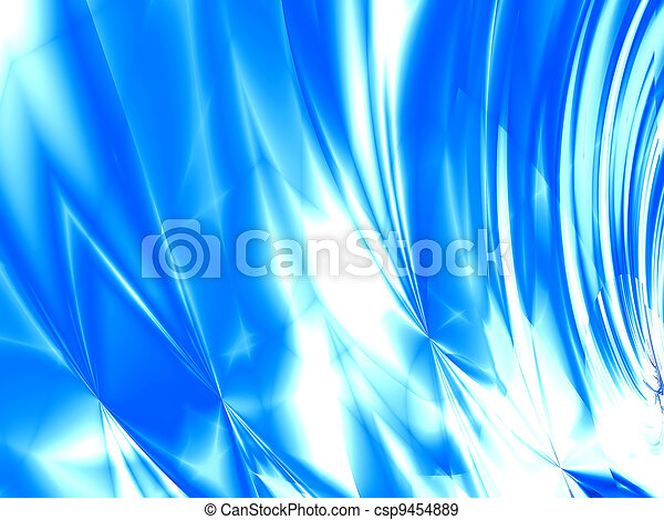abstract waves, overflowing the tints of blue color on a white background - csp9454889