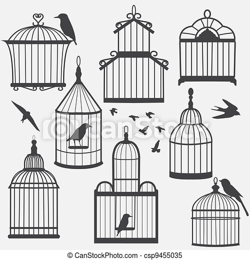 Illustrations de oiseau cages silhouette illustration - Dessin oiseau en cage ...
