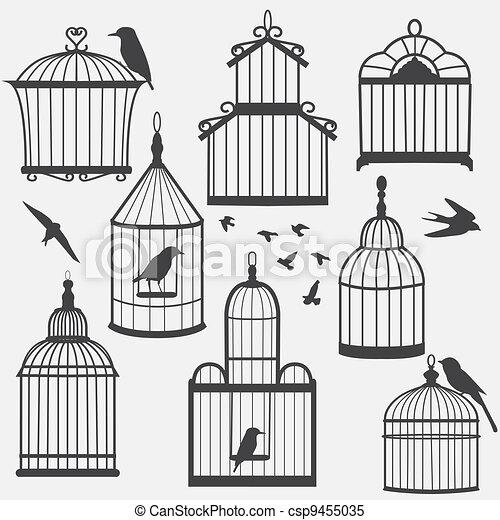 Illustrations de oiseau cages silhouette illustration csp9455035 recherchez des cliparts - Dessin oiseau en cage ...