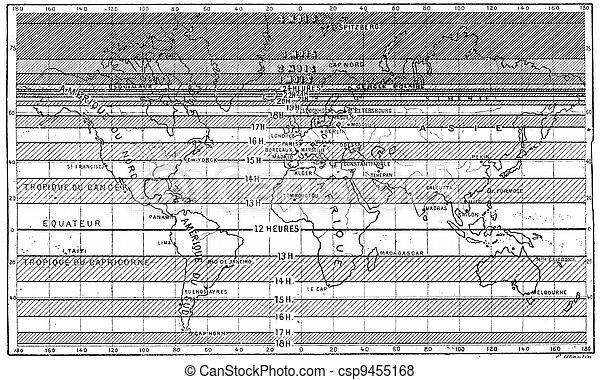 Map of the longest days of summer for different latitudes,  vintage engraved illustration. Dictionary of words and things - Larive and Fleury - 1895. - csp9455168