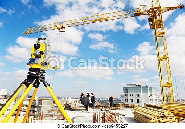 surveyor equipment theodolite at construction site - csp9455227