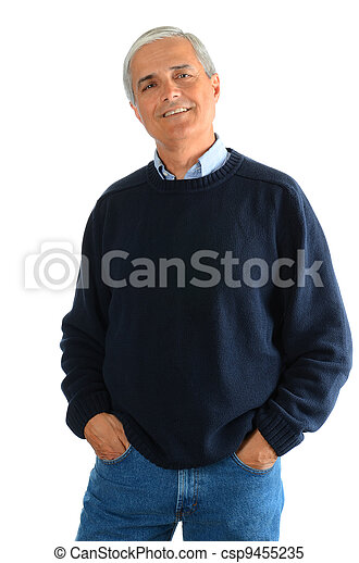 Casual Middle Aged Man in Jeans and Sweater - csp9455235