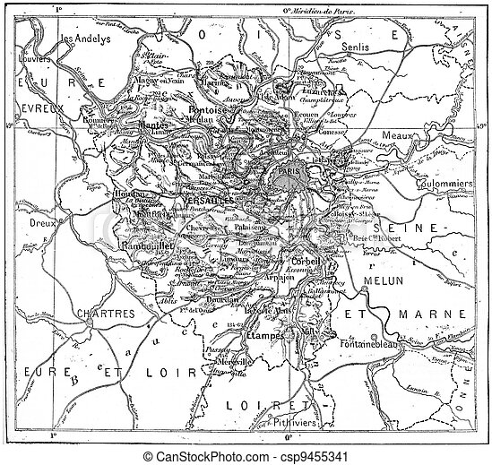 Map Of department of Seine-et-Oise, France, vintage engraving. - csp9455341
