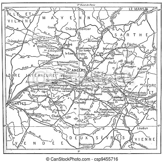 Topographical Map of Department of Maine-et-Loire in Pays de la Loire, France, vintage engraved illustration. Dictionary of Words and Things - Larive and Fleury - 1895 - csp9455716