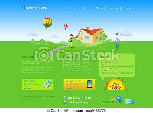 Website template: Green grass - csp9455778
