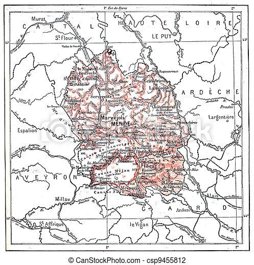 Map of department of Loz?re, vintage engraving. - csp9455812