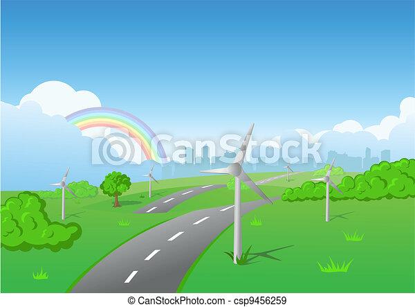 Wind turbines on green grass - csp9456259