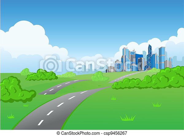 Skyscraper city background nature - csp9456267