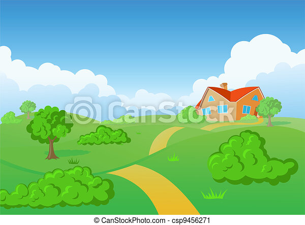 Vector Clip Art of Countryside House. Green meadow. - Background ...