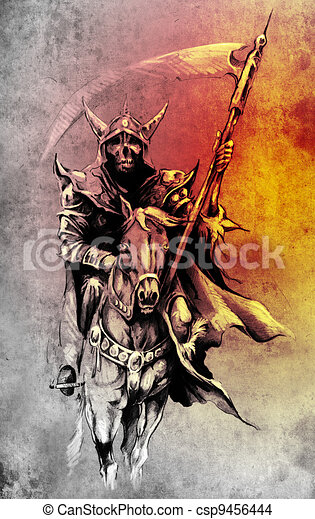 Death. Sketch of tattoo art, warrior at horse illustration - csp9456444
