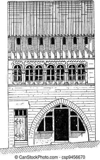 Roman House in Saone-et-Loire in Bourgogne, France, vintage engraving - csp9456670