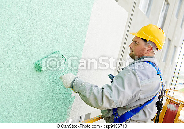 builder facade painter at work - csp9456710