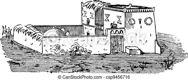 Egyptian House, vintage engraving - csp9456716