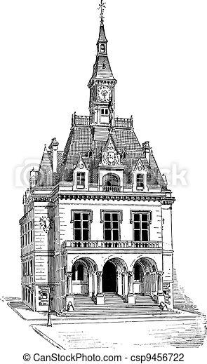 Town Hall at La Ferté-sous-Jouarre in Seine-et-Marne, Ile-de-France, France, vintage engraving - csp9456722
