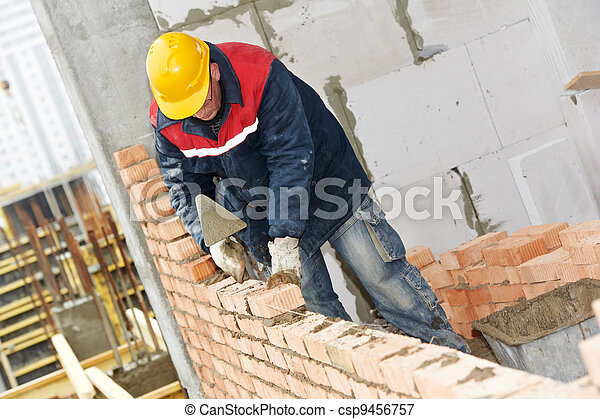 construction mason worker bricklayer - csp9456757