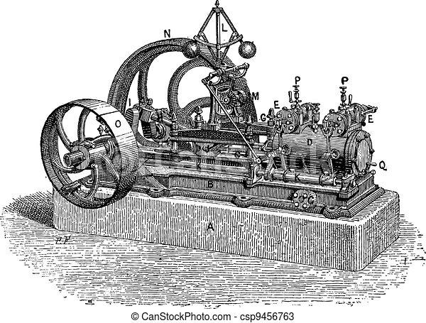 Horizontal Steam Engine, vintage engraving - csp9456763