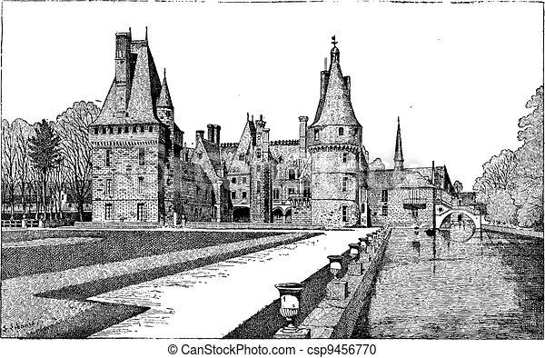 Maintenon Castle in Centre, France, vintage engraving - csp9456770