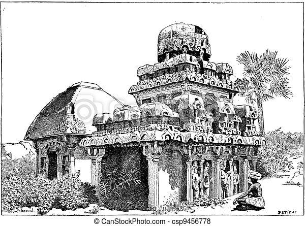 Mahabalipuram in Tamil Nadu, India, vintage engraving - csp9456778