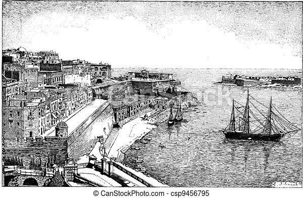 Republic of Malta, vintage engraving - csp9456795