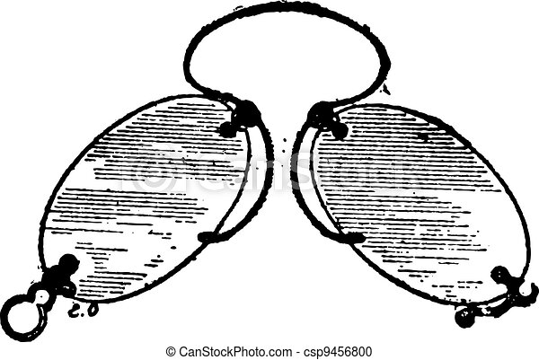 Glasses, nose clip has claws, vintage engraving. - csp9456800