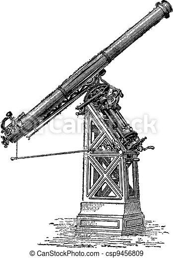 Equatorial telescope called Observatory of Paris, vintage engraving. - csp9456809