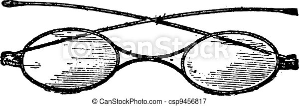 Glasses, x bridge, vintage engraving. - csp9456817