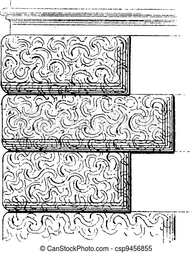 Vermiculated Stone Work, vintage engraving - csp9456855