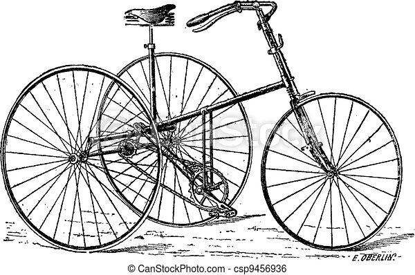 Velocipede, tricycle, vintage engraving. - csp9456936