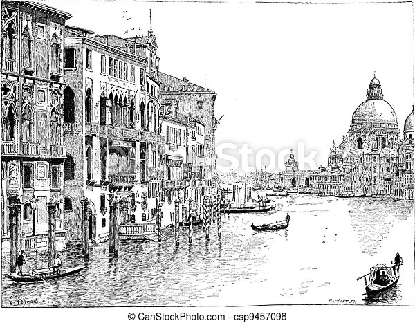 View of the Grand Canal, Venice, vintage engraving. - csp9457098