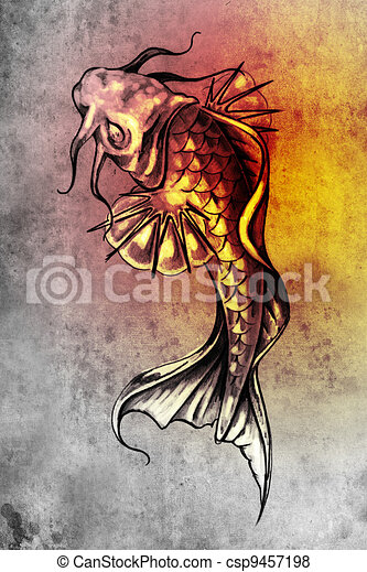 Illustration de poisson rouge tatouage croquis art - Croquis poisson ...