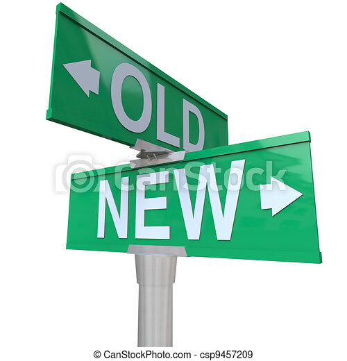 Choose Old or New 2-Way Street Sign Pointing Arrows - csp9457209
