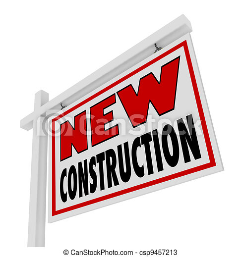 New Construction House for Sale Sign Home Real Estate  - csp9457213