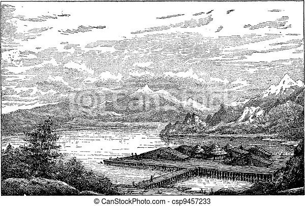 Neolithic Lake-dwelling Station in Latringen, Switzerland, during the Belle Epoque, vintage engraving - csp9457233